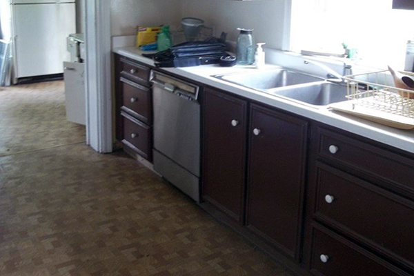 Before photo of an old residential kitchen at Old Economy, Ambridge, PA