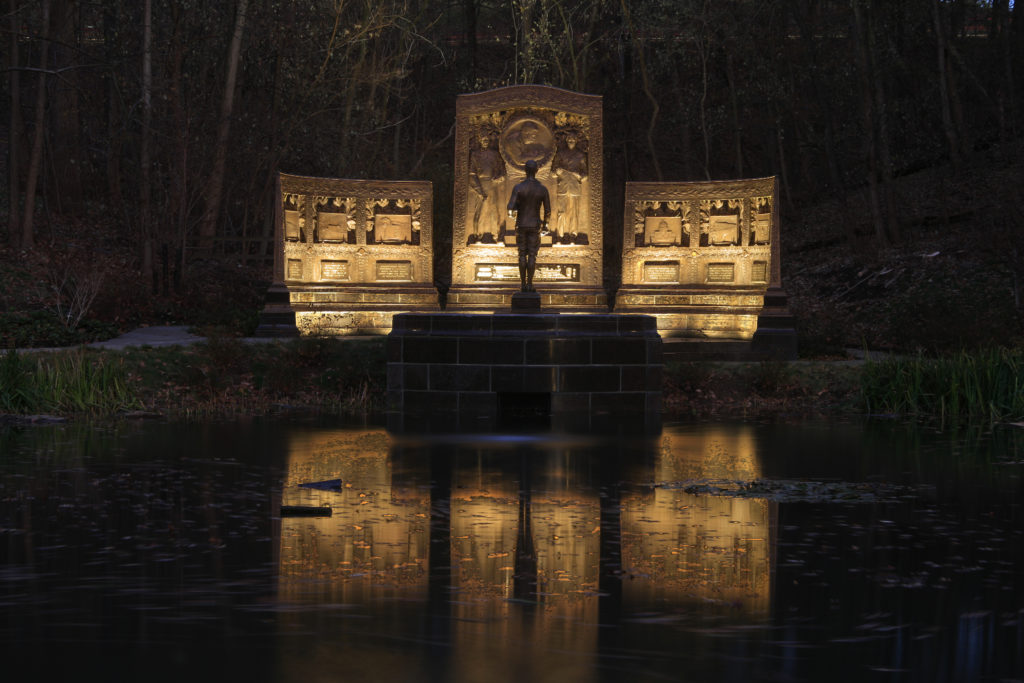 George Westinghouse Memorial and relecting pool at night